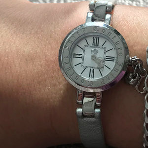 Juicy Couture Silver Leather Watch with Charm Dial
